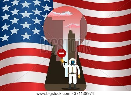 Illustration Of An Emergency Lockdown On United States Of America Flag Background