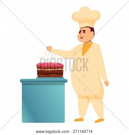 Cake Confectioner Icon. Cartoon Of Cake Confectioner Vector Icon For Web Design Isolated On White Ba