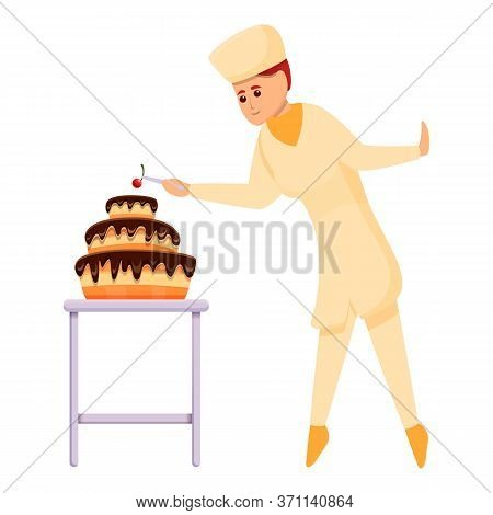 Confectioner Put Cherry On Cake Icon. Cartoon Of Confectioner Put Cherry On Cake Vector Icon For Web