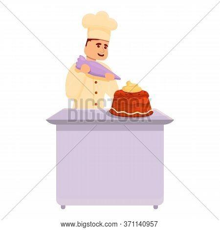 Confectioner Making Cream Cake Icon. Cartoon Of Confectioner Making Cream Cake Vector Icon For Web D