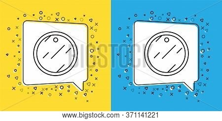 Set Line Cutting Board Icon Isolated On Yellow And Blue Background. Chopping Board Symbol. Vector