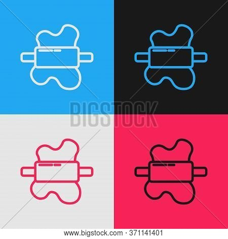 Pop Art Line Rolling Pin On Dough Icon Isolated On Color Background. Vector