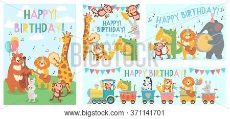 Animals Play Music Greeting Card. Happy Birthday Song Played By Cute Animals Orchestra With Music In