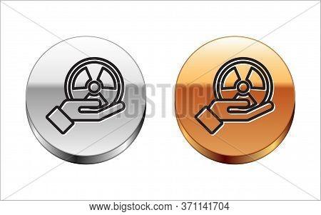 Black Line Radioactive In Hand Icon Isolated On White Background. Radioactive Toxic Symbol. Radiatio