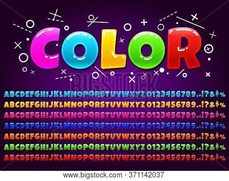 Color Alphabet For Cartoon Game. Vivid Colorful Letters, Numbers, Alphabet Symbols For Children Game