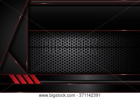 Abstract Metal Modern Red And Black Contrast On Dark Circle Mesh Design Futuristic Technology Backgr
