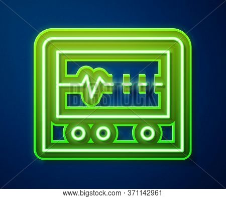 Glowing Neon Line Beat Dead In Monitor Icon Isolated On Blue Background. Ecg Showing Death. Vector