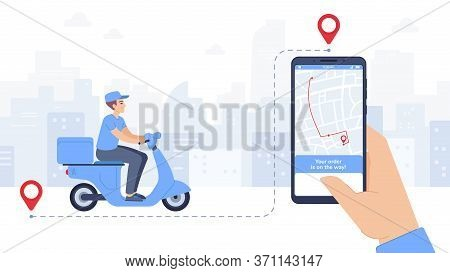 Scooter Delivered Food Mobile App. Online Delivery Service, Courier With Parcel On Scooter, Hand Hol
