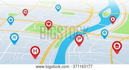 City Map In Perspective. Gps Navigation Route With Pointers And Pins. City Roads And Residential Qua