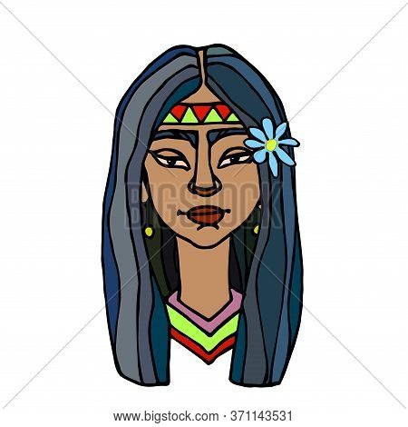 Head Of An Indian Or Latin Young Cute Brunette Girl With Blue Flower, Avatar, Color Vector Illustrat