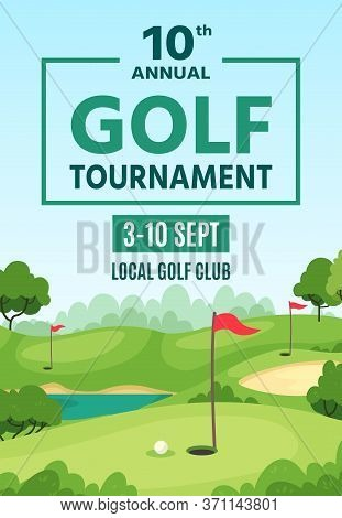 Golf Poster. Green Course, Holes With Flagsticks And Sand Traps, Championship Or Tournament Flyer, G