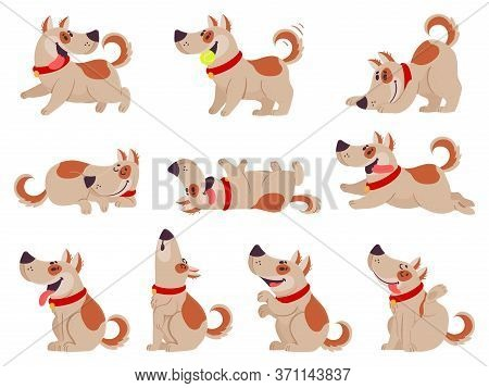 Cartoon Dog. Cute Dogs In Daily Routine Eating, Jumping Wiggle And Sleeping, Running And Barking, Pl