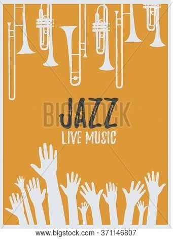 Music Promotional Poster With Musical Instruments And Hands Vector Illustration. Artistic Background