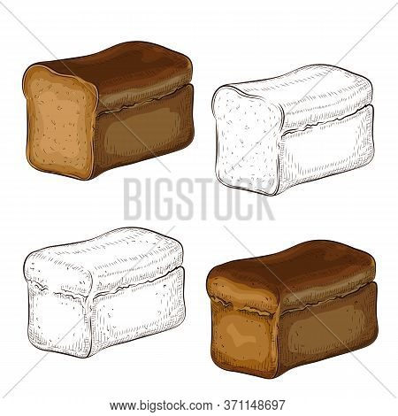 Vector Set Of Rye Bread Illustration Isolated On White. Hand Drawn Outline And Colored Dark Breads E