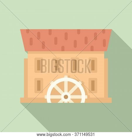 River Water Mill Icon. Flat Illustration Of River Water Mill Vector Icon For Web Design