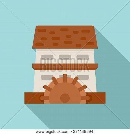 Waterwheel Mill Icon. Flat Illustration Of Waterwheel Mill Vector Icon For Web Design
