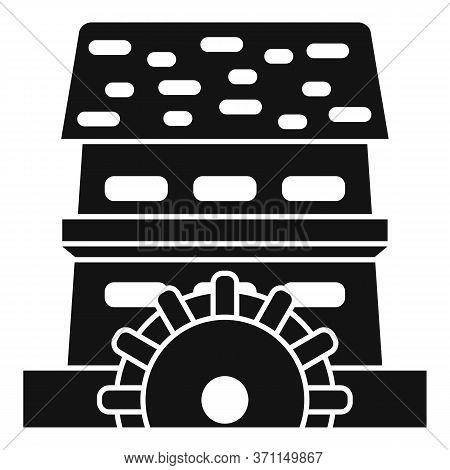 Waterwheel Mill Icon. Simple Illustration Of Waterwheel Mill Vector Icon For Web Design Isolated On