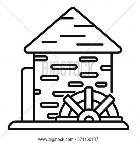 Waterwheel Mill Icon. Outline Waterwheel Mill Vector Icon For Web Design Isolated On White Backgroun