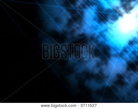 fantasy alien blue bright sun in dark background poster