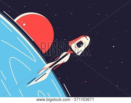 Vector Illustration Of A Reusable Spacecraft Entering Into Orbit Around The Planet