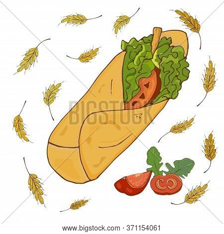 Salad, Tomatoes And Potatoes Wrapped In Pita Bread Surrounded By Wheat And Tomato Slices. Isolated O