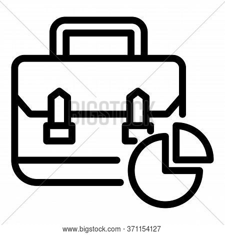 Suitcase And Chart Icon. Outline Suitcase And Chart Vector Icon For Web Design Isolated On White Bac