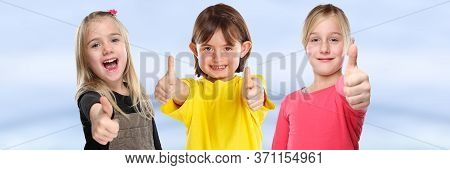Group Of Children Kids Smiling Young Little Girls Success Thumbs Up Positive Banner