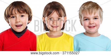 Children Kids Little Girl Boy Portraits Faces Isolated On White