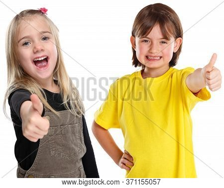Children Kids Girls Young Success Good Positive Thumbs Up Isolated On White