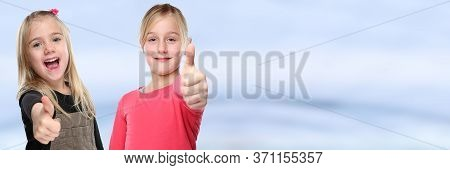 Children Kids Smiling Young Little Girls Success Thumbs Up Copyspace Copy Space Positive Banner