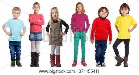 Group Of Kids Children Little Boys Girls Full Body Portrait Isolated On White