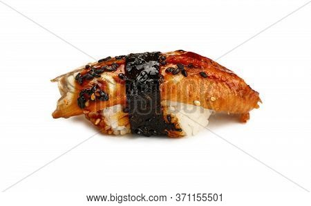 Close Up One Unagi Nigiri Sushi With Eel Isolated On White Background, High Angle Side View