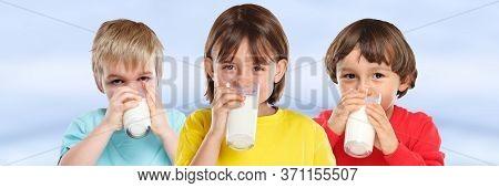 Children Girl Boy Drinking Milk Kids Glass Healthy Eating Banner