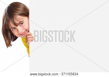 Child Kid Smiling Young Girl Copyspace Marketing Ad Advert Empty Blank Sign Isolated