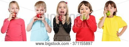 Group Of Kids Children Eating Apple Fruit Autumn Fall Healthy Isolated On White