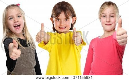 Group Of Children Kids Smiling Young Little Girls Success Thumbs Up Positive Isolated On White