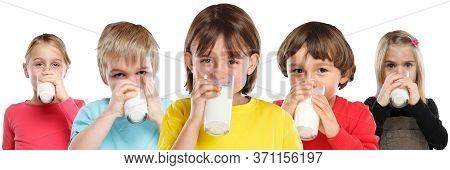 Group Of Children Girl Boy Drinking Milk Kids Glass Healthy Eating Banner Isolated On White