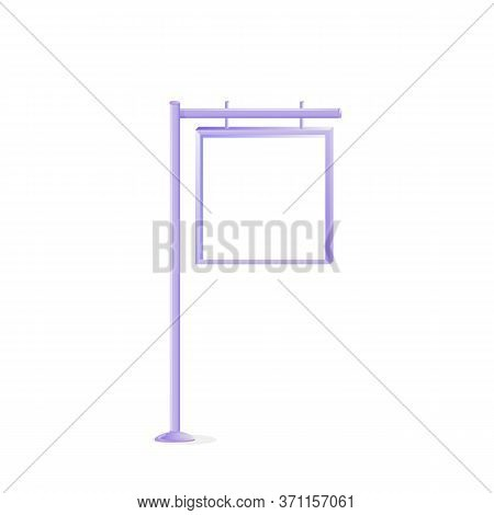 Urban Metal Vector Advert Board Sign Illustration. Stand With Blank Square Screen. Commercial Billbo