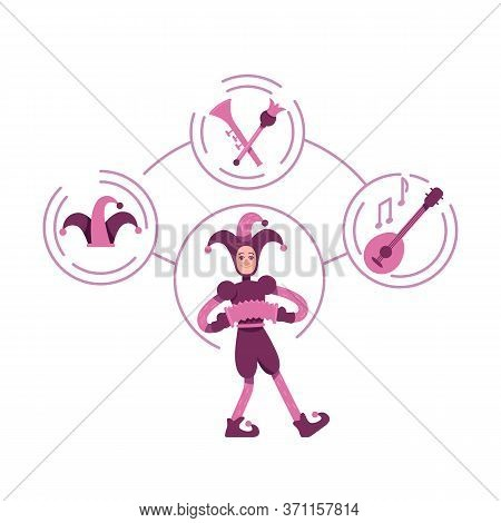 Jester Archetype Flat Concept Vector Illustration. Medieval Clown Playing Musical Instruments 2d Car