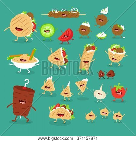 Donner Pita Hummus Kebab Fast Food Set. Vector Illustration.