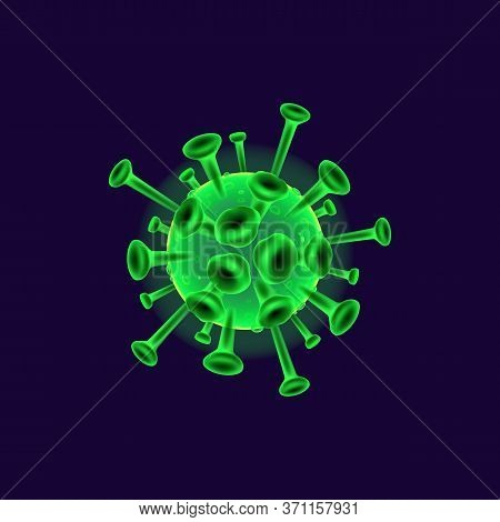 Coronavirus Realistic Vector Illustration. Bacterial Cell. Pathogenic Organism. Microbiological Anal