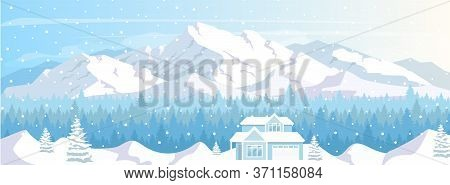 Ski Resort House Flat Color Vector Illustration. Winter Vacation. Lodge In Snow Mountains Landscape.
