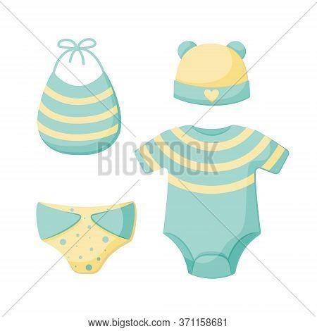 A Set Of Things For A Newborn Isolated On A White Background. Collection For Boys In Blue And Yellow