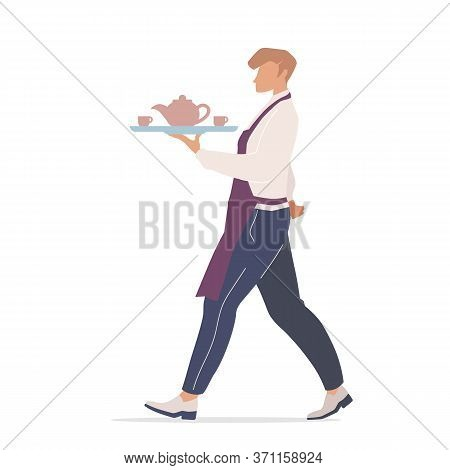 Cafe Waiter Flat Color Vector Faceless Characters. Coffeehouse Worker Carrying Tray With Tea. Male C