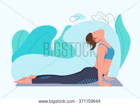 Sportswoman Doing Yoga Exercise Flat Color Vector Faceless Character. Young Woman In Cobra Pose Isol