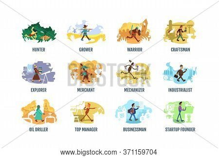Historical Period People 2d Vector Web Banner, Poster Set. Ancient Time And Age. Humanity Evolution