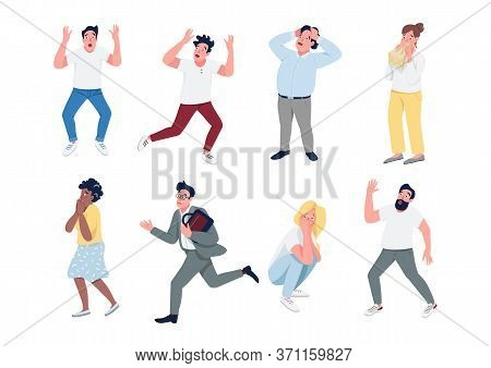 People In Panic Flat Color Vector Detailed Characters Set. Men And Women With Panic Attack Isolated