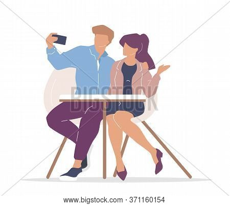 Couple In Cafe Flat Color Vector Faceless Characters. Boyfriend And Girlfriend Taking Selfie. Man An