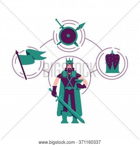 Ruler Archetype Flat Concept Vector Illustration. Medieval King 2d Cartoon Character For Web Design.
