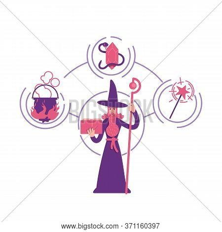 Magician Archetype Flat Concept Vector Illustration. Old Man With Beard Holding Magic Book 2d Cartoo